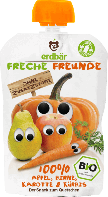 Freche Freunde Alma, körte, sárgarépa & sütőtök BIO gyümölcspüré 100 g