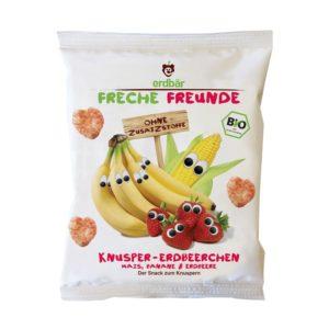 Freche Freunde Puffasztott BIO eper & banán szívek 25 g