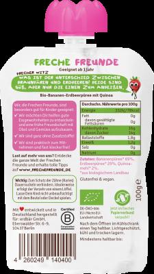 Freche Freunde Banán, eper & quinoa BIO gyümölcspüré 100 g
