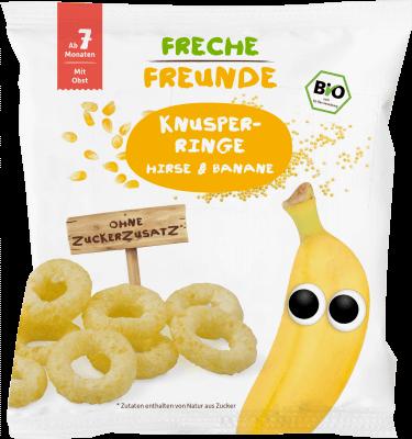 Freche Freunde Puffasztott BIO köles-banán karikák 20 g GLUTÉNMENTES
