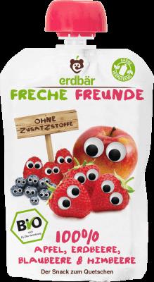 Freche Freunde Alma, eper, áfonya, málna, vörös áfonya Mix BIO gyümölcspüré 100 g